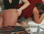 Mistress Gemini applies the strap to this gorgeous puffy booty