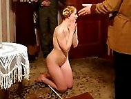 Stunning blonde restrained over a bench and brutally caned