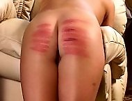 Innocent girl bends over for a brutal caning