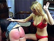 Big bottom girl gets brutally caned across her ample buttocks - severe bruises and welts
