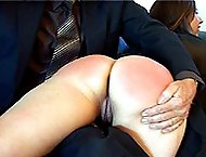 Stunning young girl relentlessly caned on her fantastic round ass - hot deep stripes