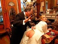 Amelia is spanked bare and hard, Victorian style, for questioning an official`s word