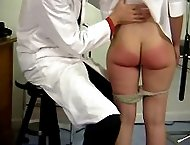 Beautiful young miss is spanked naked and humiliated in the medical room