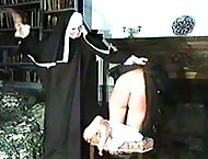 Naughty nun pulls up her habit and exposes her naked ass for punishment