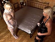 Hot blonde chicks Britney & Kath have perverted spanking sex