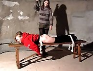Blonde chick tied to a counter for hard spanking