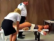 Nicoleta gets tied spread-eagle to a table so she can experience the maximum pain of the cane