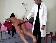 Cutie in school uniform gets a medical examination and a spanking