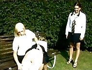 Outdoor school girl spanking frenzy - juicy little slits and hot burning asses