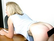 Hot redhead gives ditzy blond girl a hard whooping with wooden paddle