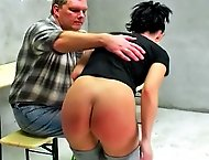 Dominika`s defiance leads to a harsh OTK spanking