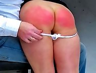 Sara gets a wicked spanking as punishment for dressing like a slut