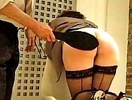 BBW with round luscious ass gets a fierce caning