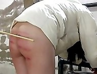 Heavy caning in the isolation room - severe stripes and welts on virgin white ass