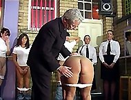 Young inmate made to touch her toes with her knickers down - spanked hard on her pert ass