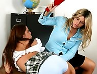 Hot Blond paddles tushy of her student