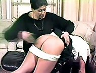Misbehaving niece with knickers around her ankles - ass stuck out for the cane