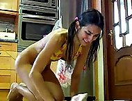 Bikini clad babe gets her ass welted in the kitchen with thin rattan cane - biting red marks